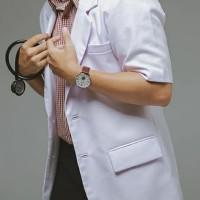 Baju Dokter Pria lengan pendek - Putih, XS