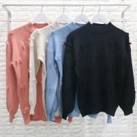 Kaos Rajut Bulu-Bulu Baju Sweater Pakaian Wanita Model Terbaru
