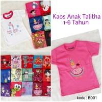 Kaos Anak 1-6 Tahun Tangan Pendek - Kaos Anak Perempuan Talitha