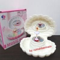Kotak Musik Unik Bentuk Kerang Lampu Ballerina Putih Music Kado Ultah