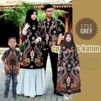 satu set baju batik couple keluarga gamis rempel datar