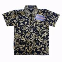 Kemeja Hem Batik Anak Motif Prada Emas Baju Atasan Laki Cowok 6m-15y