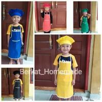 Celemek Apron Anak set plus Topi Koki bahan drill
