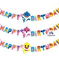 Bunting Flag / Banner Ulang Tahun Happy Birthday Baby Shark Besar