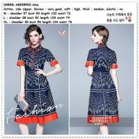 AB838900 Midi Mini Dress Kemeja Pesta Wanita Korea Import Biru Blue