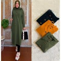 Baju Busana Wanita Tunik Hodie Formal Casual Hijab Gamis Hijau Army