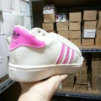 Terlaris Sepatu Kets Replikas Adidas Putih Plat 3 Fanta / Pink Hemat