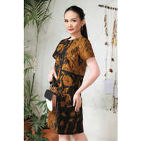 Eudora Sogan D0166,Baju Dress Batik wanita Modern Nona Rara - XL