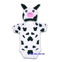 baju bayi jumper karakter sapi /jumpsuit baby cow - M 6-11 Kg