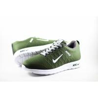 Sepatu Sneakers Pria Nike Sport Hijau Putih Casual Running Import