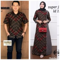 Baju couple dress gamis super jumbo ld 130 batik sarimbit kemeja pria