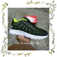 Sepatu Sport Nike Airmax 3D Skin Running - Hitam Kombinasi Merah