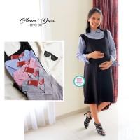 Baju Hamil Dress Overall Hamil Menyusui Kerja Salur Cantik - DRO 861