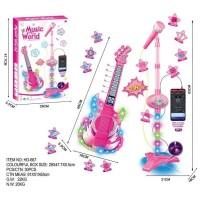 Mainan Edukasi Anak Microphone Karaoke dan Gitar Elektrik 2 in 1