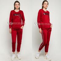 VM Setelan training Wanita Baju Senam Jumbo - M, Merah