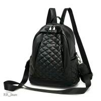 Tas Ransel Wanita Backpack Model Import Bahan Semi Kulit Warna Hitam