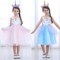 baju anak perempuan unicorn diamond dress anak import - 3-4 tahun, Merah Muda