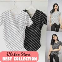 Baju kaos blouse v neck salur garis atasan stripe wanita terbaru murah