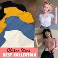 Baju kaos tshirt wanita polos V neck bahan sweater rajut kriwil korea