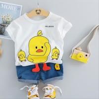 Setelan Anak Laki-laki gambar 3D Chicken baju anak import Hk