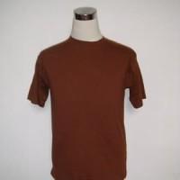 Kaos polos coklat ukuran XS - XXXL cotton combed