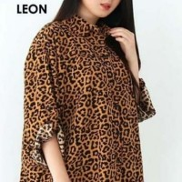 Kemeja Leon Motif Macan Baju Atasan Wanita Jumbo Kancing