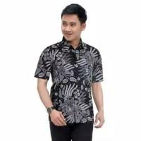 Baju Batik Cowok Lengan Pendek Manggar Hitam - Kemeja Batik Pria