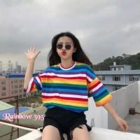 KAOS O-NECK CEWE/T-SHIRT RAINBOW WANITA/ BAJU PEREMPUAN PELANGI