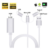 Kabel HDMI 3 in 1 Type C/Lightning/Micro USB (2M) for iphone android