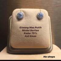 Giwang/anting model berlian mas putih kadar 75% asli emas