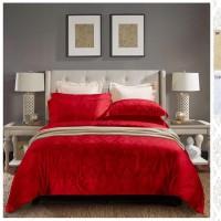 Sprei+Bedcover Sutra Mewah Warna Merah/KingKoil Sutra 180x200x30