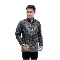 Baju kemeja atasan pria batik lengan panjang motif garuda M-XXL