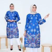 tunik batik Atasan batik wanita warna biru modern