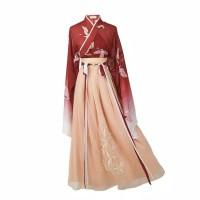 cheongsam long dress dewasa bunga floral motif imlek hanfu hanbok