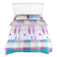 Bed Cover Nyenyak White Bunny - Single 160x220