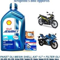 PAKET SHELL ADVANCE AX7 10W40 + FILTER OLI GSX-R150 GSX-S150 SATRIA FU
