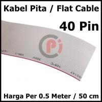 Kabel Flat Cable Pita Abu Abu 40P IDC 40 Pin Per 50cm atau 0.5m
