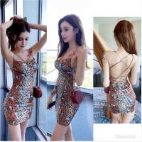 JES-PS3379 mini dress party bodycon sexy import-gaun dress backless