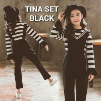 BAJUKIDDIE TINA SET BLACK baju anak perempuan korea import jumpsuit