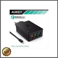 TERLARIS Aukey Qualcom Quick Charge 3 0 Tech 3 Port USB Hitam limite
