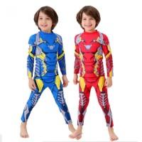 Baju Renang Swim Diving Suit Anak Laki Iron man Merah Biru