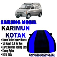 Sarung Mobil KARIMUN KOTAK List BIRU Body Cover Penutup Suzuki Karimun