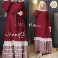 Baju Gamis Maxy Wanita Muslimah Maroco Dress moscrepe Apk Renda Bd