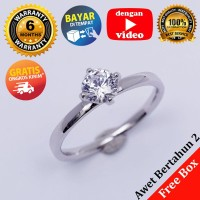 RL 245 - Cincin Perak Sterling 925 Emas Putih ASLI Korea, Awet 7 thn
