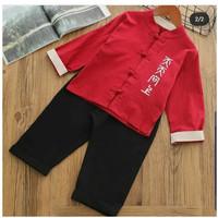 Cheongsam Anak Laki MUrah Baju Imlek Merah Congsam Oriental Baju Katun