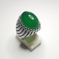 Cincin Batu Green Calcedony Top Luster Good Color Like Bacan - Kuning