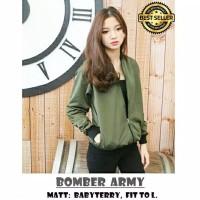 BM - Jaket Kaos Army Color Baju Jacket Wanita #FSB