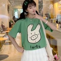 Kaos T-Shirt Panjang Motif Print Kartun Babi Lucu untuk Wanita