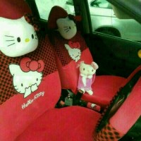 Sarung Jok Mobil Agya Ayla Motif Hello Kitty Merah Bintik Hitam Murah