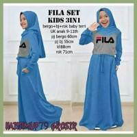 Promo Baju Gamis Anak Perempuan Fila Set Kid 3 In 1